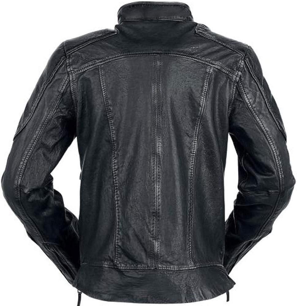 Parevaas Mens Deadshot Black Genuine Leather Jacket