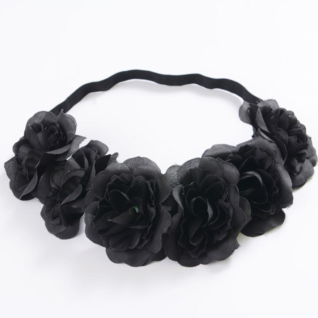 Quistal Women Bride Rose Flower Crown Wedding Festival Headband