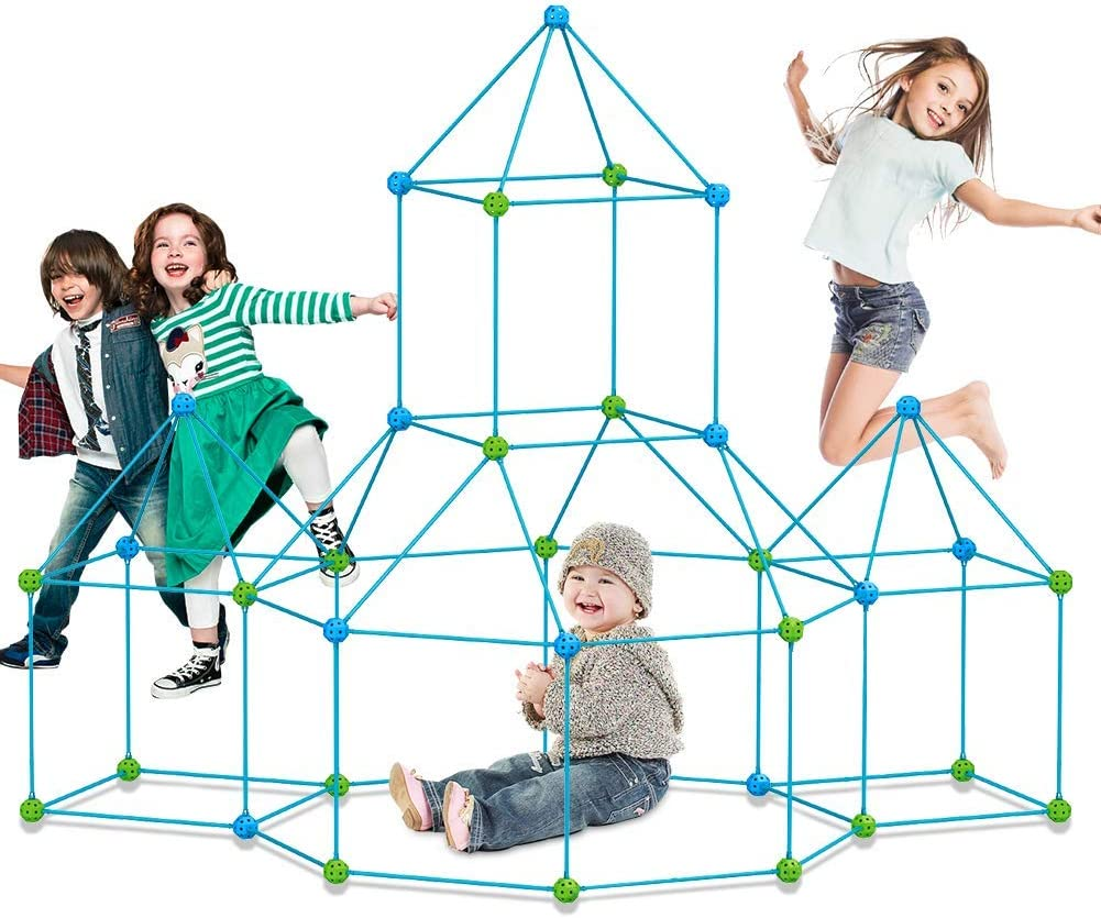 9IUoom Fort Building kit for Kids 120 Pieces Air Forts Builder Gift Kid Construction Toys for Boys and Girls Ages 3-5-7 DIY Fun Fort Building Castles Tunnels Play Tent Tower Indoor Outdoor
