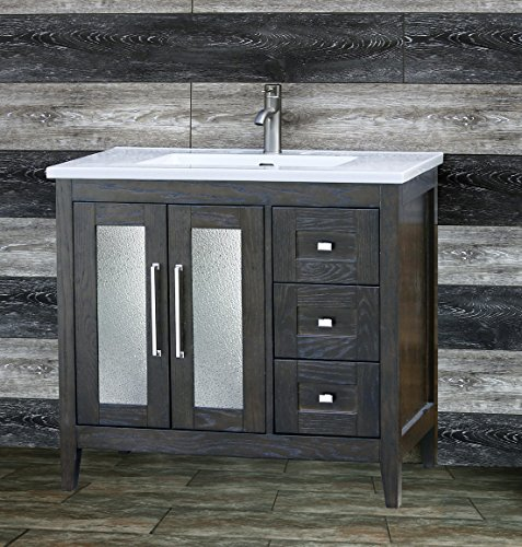"36"" Bathroom Espersso Oak Vanity 36 inch with Ceramic Lavatory Top Integrated Sink A3621EL"