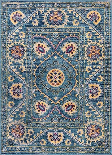 Well Woven Carson Agra Medallion Persian Vintage Bohemian Blue Area Rug 8×11 7'10″ x 9'10″