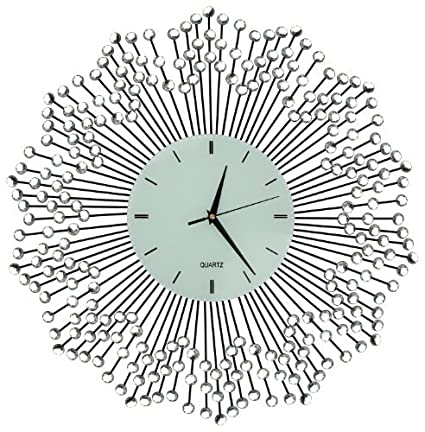LuLu Decor, Celebration Decorative Wall Clock 23u201d, White Glass Lines Dial  8.5u201d
