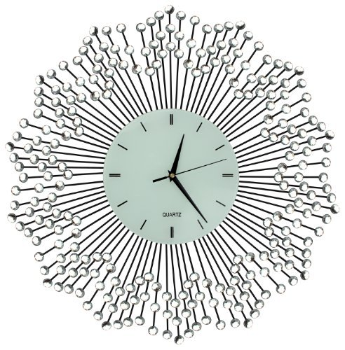 "Lulu Decor, Celebration Decorative Wall Clock 23"", White Glass Lines Dial 8.5"", Handmade Metal Clock for Living Room, Bedroom, Office Space (Flower Decor Wall Crystal)"