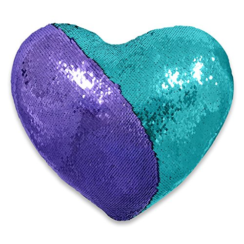 - QQB Mermaid Pillow, Reversible Sequin with 2 Color, Heart Shaped Decorative Throw Pillow with Pillow Insert, 13''×15''