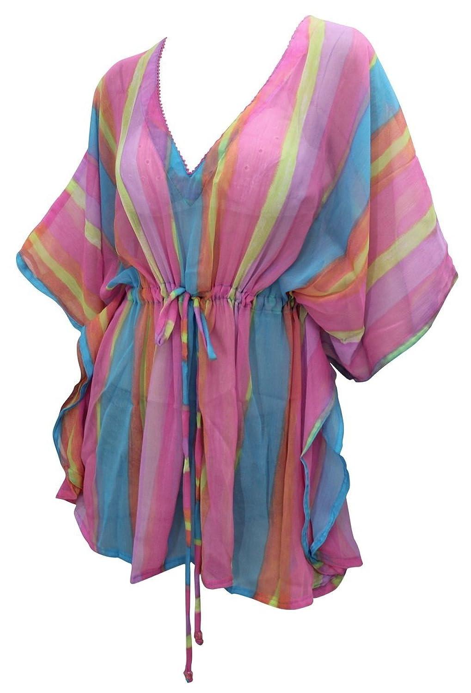 La Leela Chiffon Printed Blouse Cover Ups Women Osfm 14 26 [L 4 X] Pink 5538 by La+Leela
