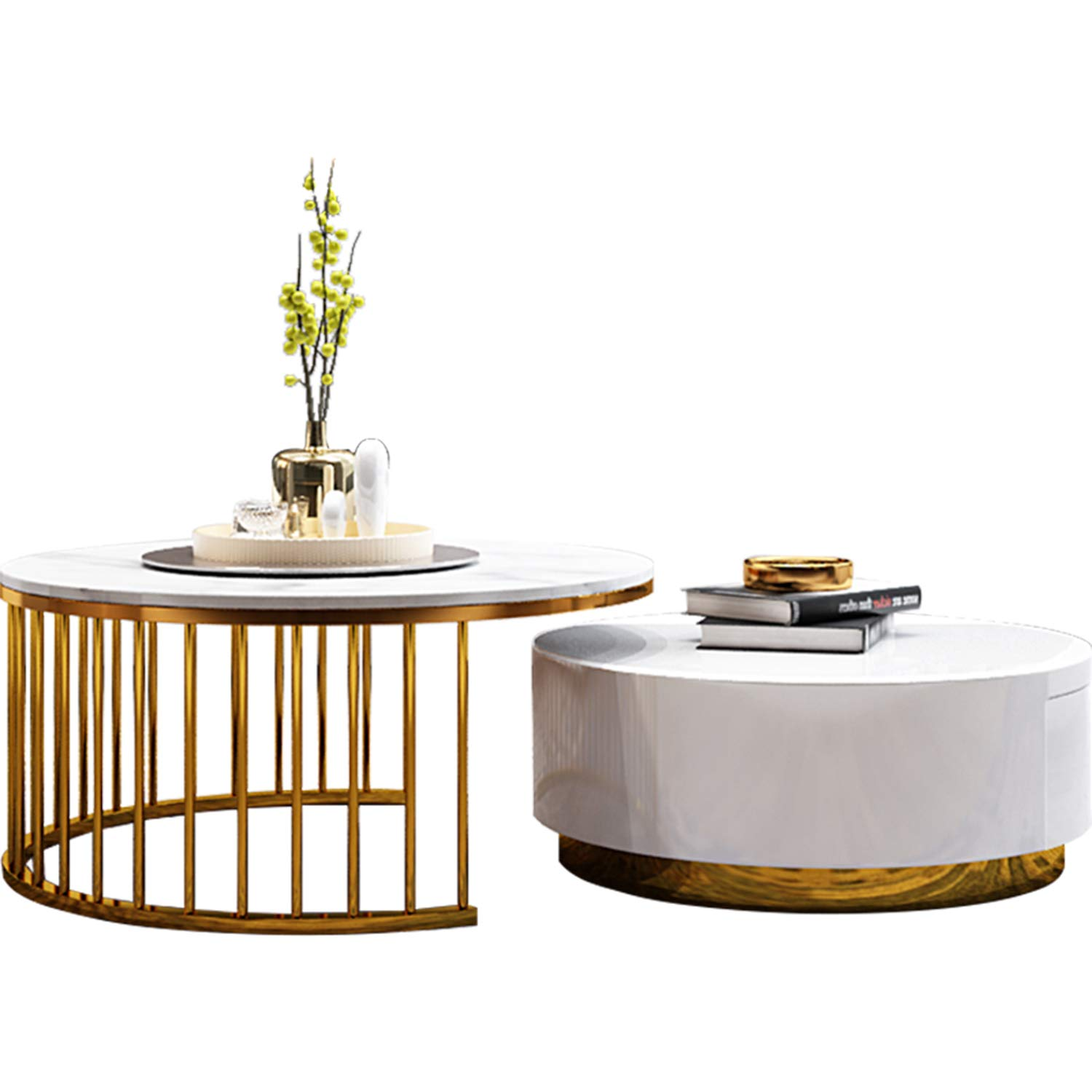 Merveilleux Amazon.com: WSXX Simple Tea Table, Living Room High And Low Round Coffee  Table, Modern Home Marble Coffee Table: Home U0026 Kitchen