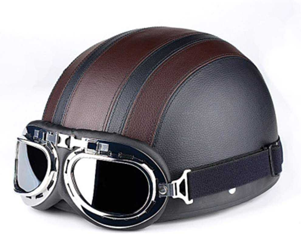 JT Casco De Moto Retro Leather Four Seasons Universal Electric Vehicle Safety Medio Cascos con Gafas