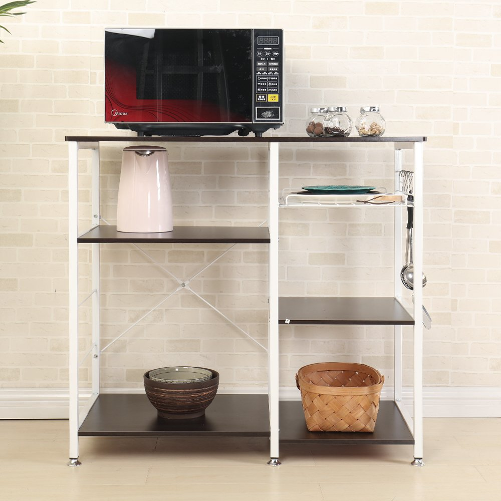 Mixcept Multi-purpose 3-tier Kitchen Baker's Rack Utility Microwave Oven Stand Storage Cart Workstation Shelf W5S-BK-MI (Black) by Mixcept (Image #6)