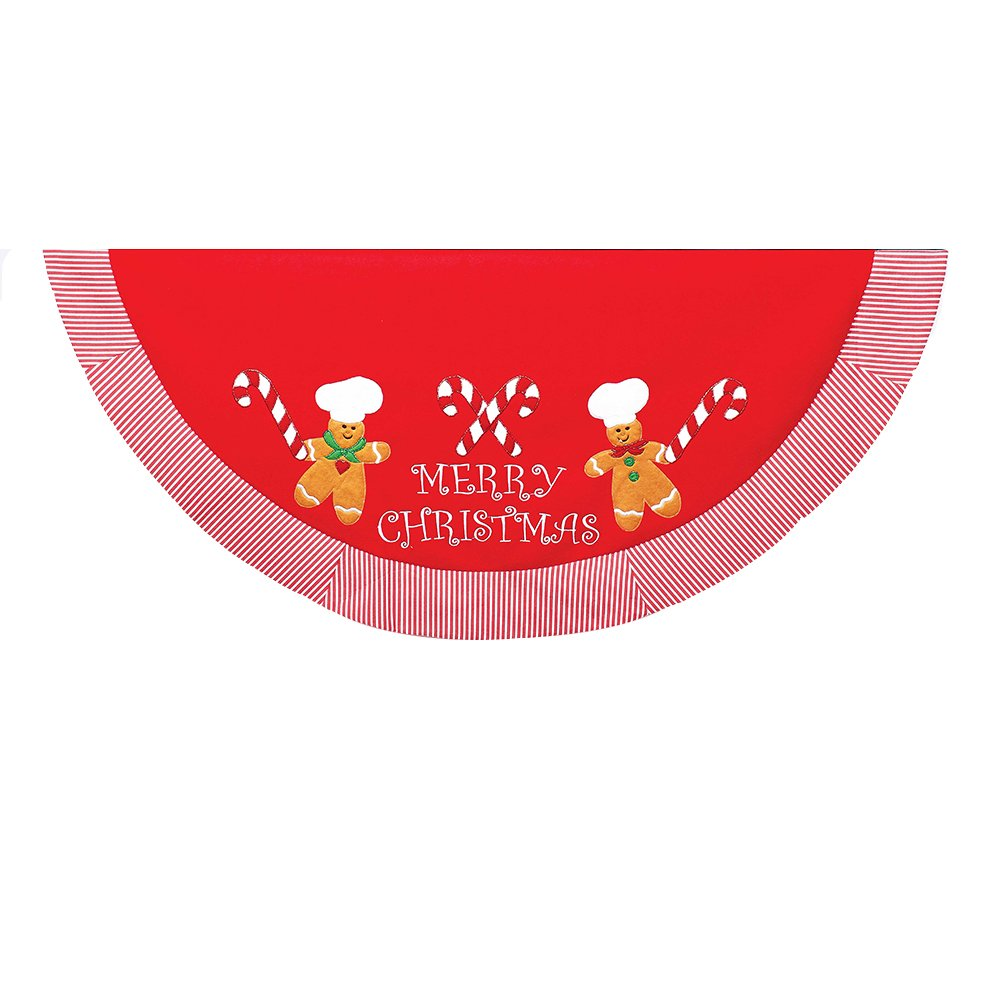 Kurt Adler 52-Inch Red Treeskirt with Gingerbread Appliques