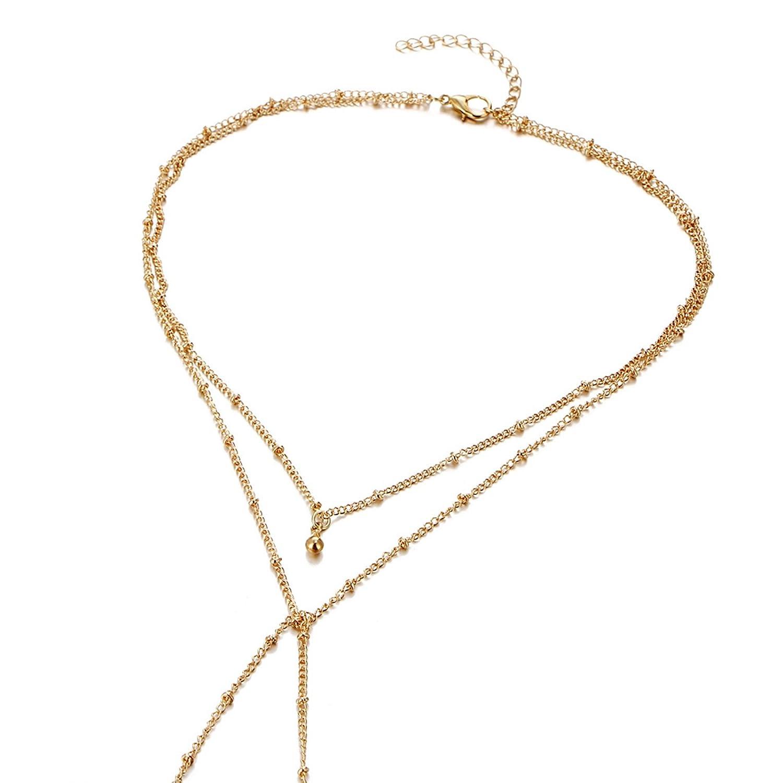0183847c258c Bishilin collares de bisutería baratos Cadena de cuentas collar de múltiples  capas collares y colgantes baratos  Amazon.es  Joyería