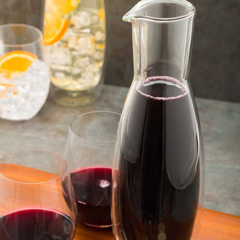 Glass Wine Carafe Water Carafe 30 oz Forma Double Wall Insulated Glass Beverage Carafe Restaurantware RWG0011 1ct Box
