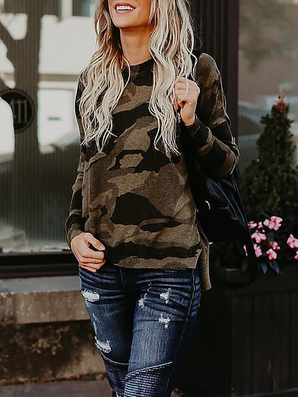 Boutiquefeel Damen Langarm Camouflage Bedruckt Flannel Bluse Oberteile  Sweatshirts: Amazon.de: Bekleidung