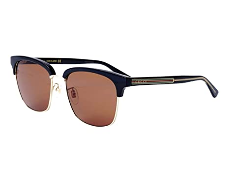 742a7c602c9 Image Unavailable. Image not available for. Color  Gucci GG 0382S 002 Black  Gold Plastic Square Sunglasses Brown Lens