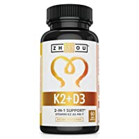 Vitamin K2 (MK7) with D3 Supplement - Vitamin D & K Complex - Bone and Heart Health Formula - 5000 IU Vitamin D3 & 90 mcg Vitamin K2 MK-7 - 60 Small & Easy to Swallow Vegetable Capsules