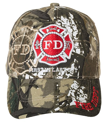 (Fire Department First in Last Out Cap - Firefighter Gift -100% Cotton Embroidered Hat)