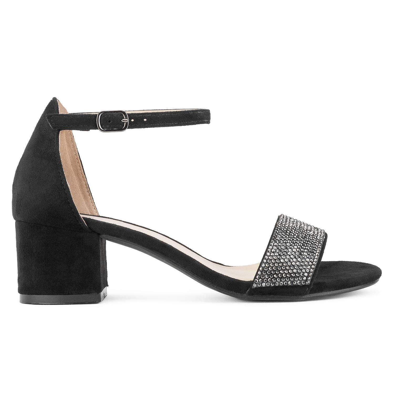 1bbe7783a Amazon.com | Women's Trendy Open Toe Ankle Strap Kitten Heel Sandal -  Adorable Low Block Chunky Heel | Heeled Sandals