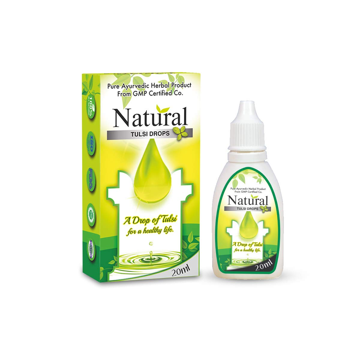 VitaGreen NATURAL TULSI DROPS, Immunity booster, Cough & Cold, Anti-oxidant, 20 ml,(Pack of 1)