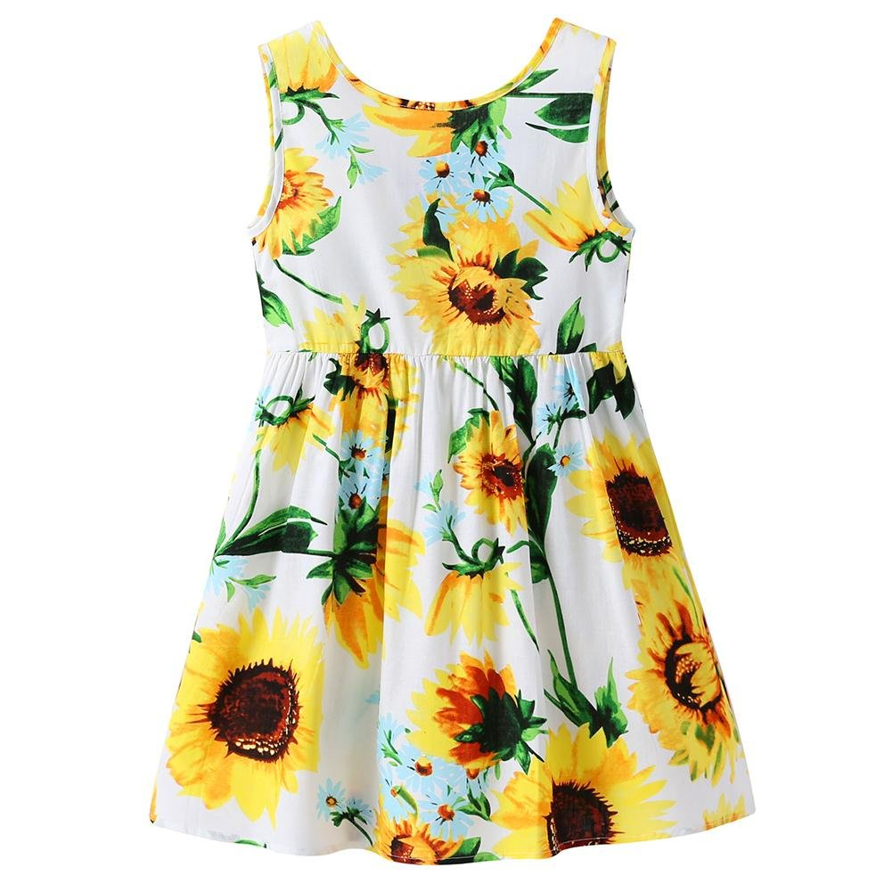 Chinatera Little Girls Sunflower Tutu Dress Toddler Girl One Piece Sleeveless Beachwear Outfit for Summer (Sunflower, 3-4T)