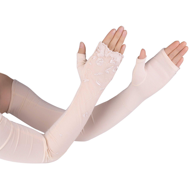 Flammi Women's UPF 50+ Soft Long Arm Sleeve Fingerless Gloves Mittens Summer Sun Gloves (Beige)