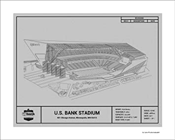 Amazon minnesota vikings us bank stadium blueprint art gift minnesota vikings us bank stadium blueprint art gift malvernweather Images