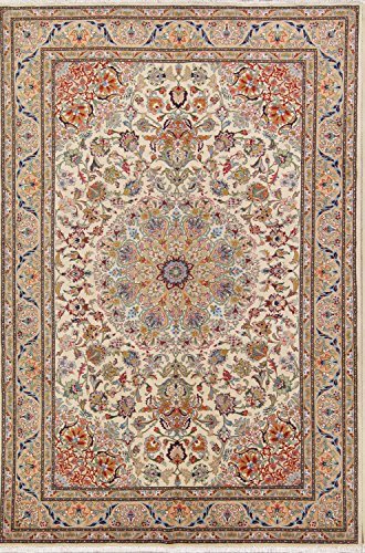 Rug Source One-of-A-Kind New Tabriz Traditional Medallion Hand-Knotted 6x10 Beige Wool Persian Area Rug (9' 9