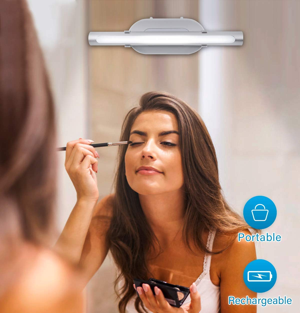 MYPLUS Portable Vanity Lights, Rechargeable Mirror Makeup Light with Brightness Adjust Function, Simulated Daylight for Perfect Makeup and Best Gift