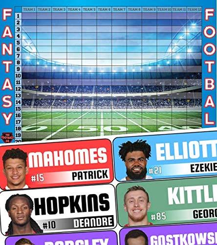 Fantasy Football Draft Board 2019 Kit - Color Rush Labels & Draft Board + Champ Award