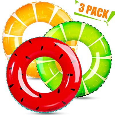 TNELTUEB 3 Pack Swimming Rings for Kids Adults, Inflatable Pool Floats Fruit Pool Tubes for Swimming Pool Summer Beach Water Float Party Pool Toys: Toys & Games [5Bkhe0800166]