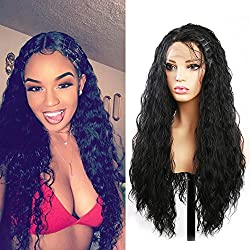 "Curly Wig Evlynn Hair Lace Front Wigs Synthetic Black Loose Curly Wigs Heavy Density Glueless Lace Wigs for Women Synthetic Wigs(24"" Black Curly wavy Lace Front Wig)"