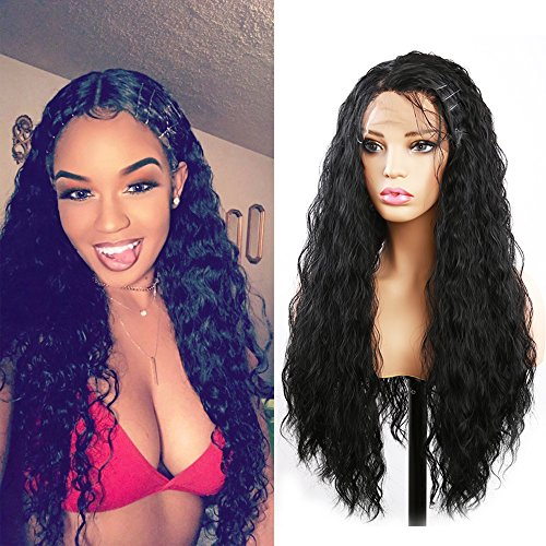 Curly Wig Evlynn Hair Lace Front Wigs Synthetic Black Loose Curly Wigs Heavy Density Glueless Lace Wigs for Women Synthetic Wigs(24