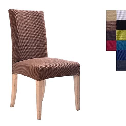 Inroy Stretch Stuhlüberzug Nadelstreifen Kurze Esszimmer Stuhl Abdeckung  (1 Stück, Beige)