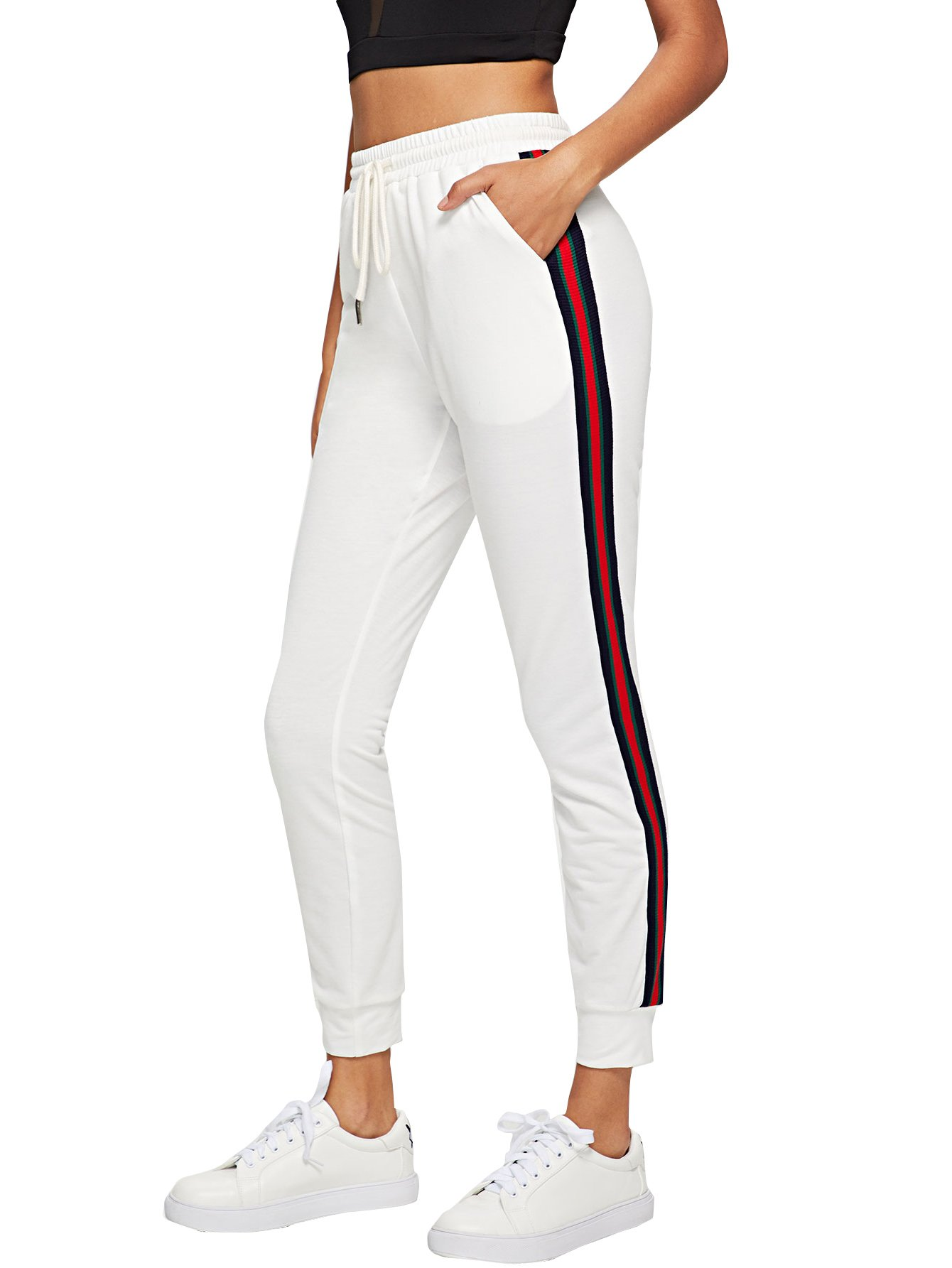 5c8c84a6e7f SOLY HUX Women's Striped Tape Side Drawstring Sweatpants Joggers Pants  White M