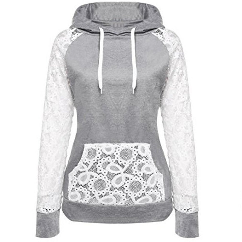 KESEE Clearance Coat ☀ Women Sheer Lace Long Sleeve Hooded Patchwork Sweatshirt With Pockets (S, Gray)