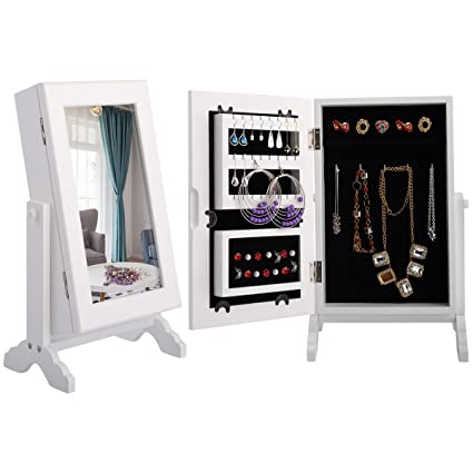 Giantex Small Mirror Jewelry Cabinet Organizer Armoire Storage Box  Countertop W/Stand (White)