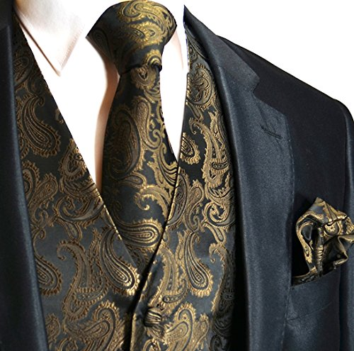Men's 3pc Paisley Design Dress Vest Tie Handkerchief Set For Suit or Tuxedo (L (Chest 44), Brown/Black)