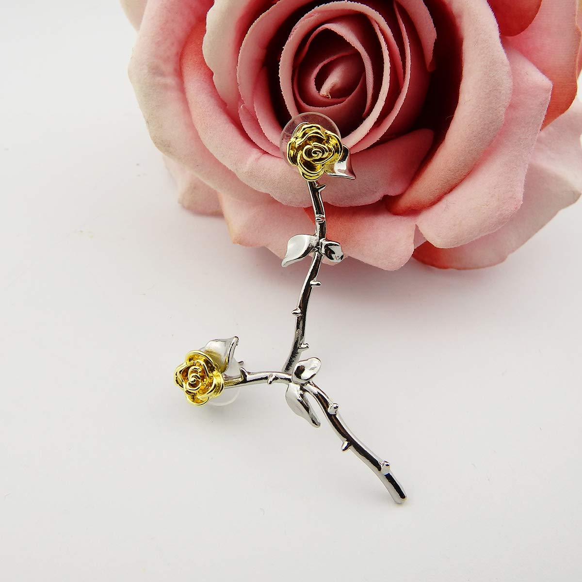 Silver Plated Romantic Rose Flower Two Tone Stud Dangle Earrings Women Girls Gift for Her