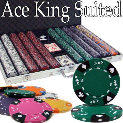 1000 Ct Ace King Suited Poker Chip Set w/ Aluminum Case 14 Gram - Ak Poker Cards Chips