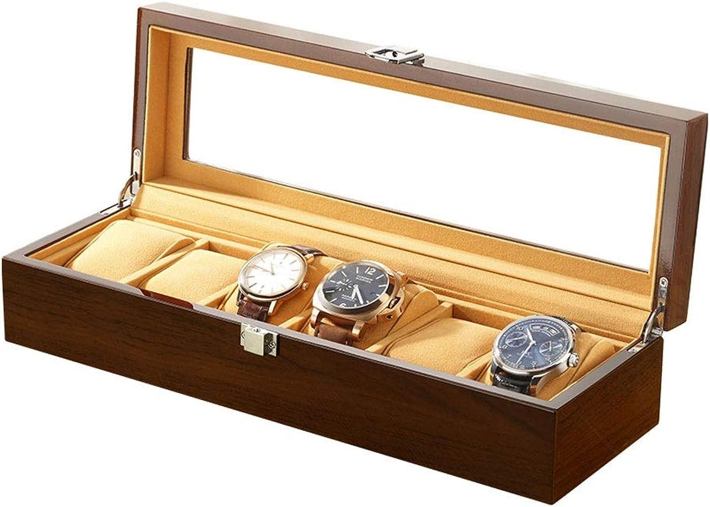 Caja De Relojes, Madera 6 Compartimentos Estuche para Relojes, Top ...