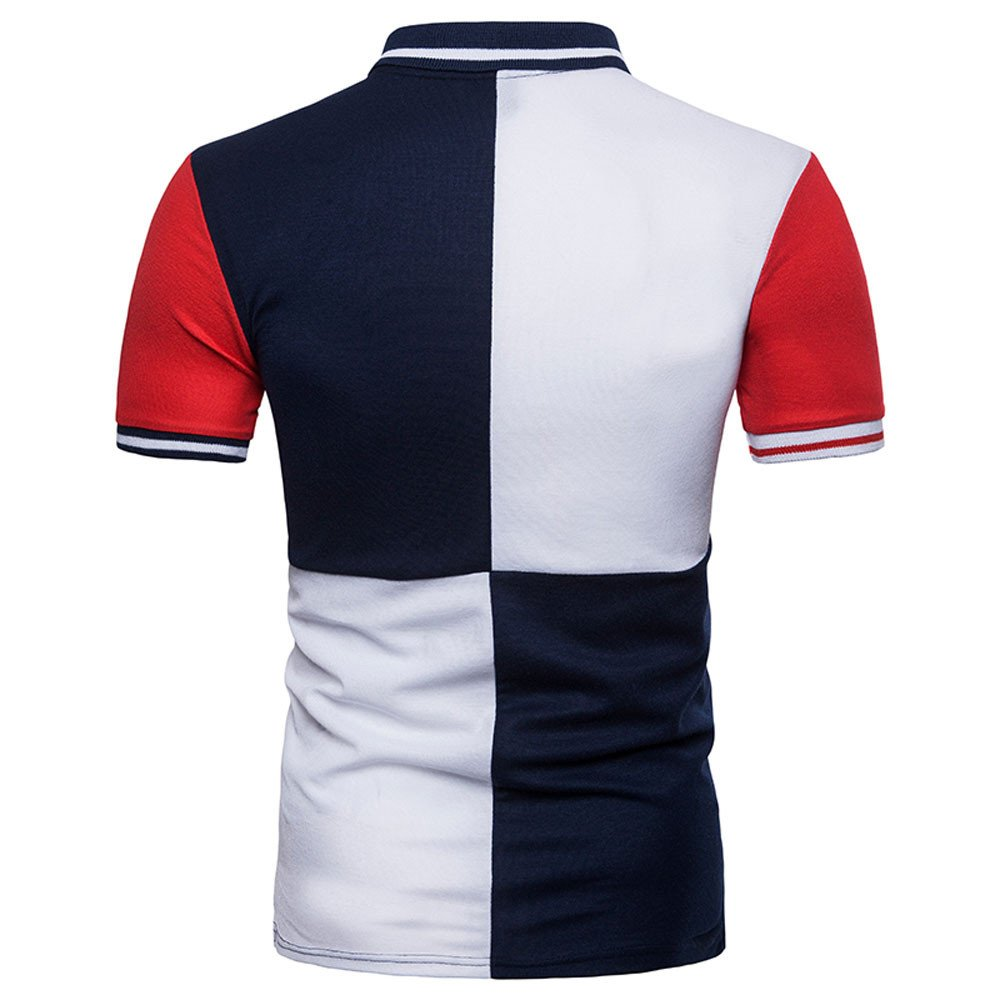 Color Block Polo Shirt,Mens Teens Boys Summer Stitching T-Shirt Top Luxurious Noble Style