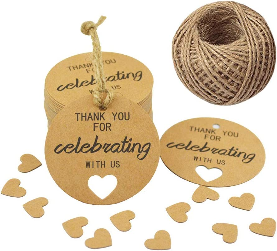 """Paper Gift Tags,Thank You for Celebrating with Us Tags,Kraft Thank You Tags for Wedding Party Favors,100 PCS/2"""" Gift Tags with 100 Feet Natural Jute Twine"""