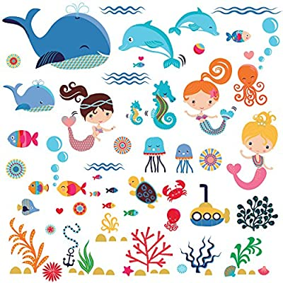 Mermaids Decorative Peel & Stick Wall Art Sticker Decals for Kids Room or Nursery