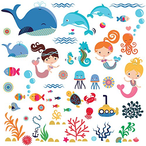 (Mermaids Decorative Peel & Stick Wall Art Sticker Decals for Kids Room or Nursery)