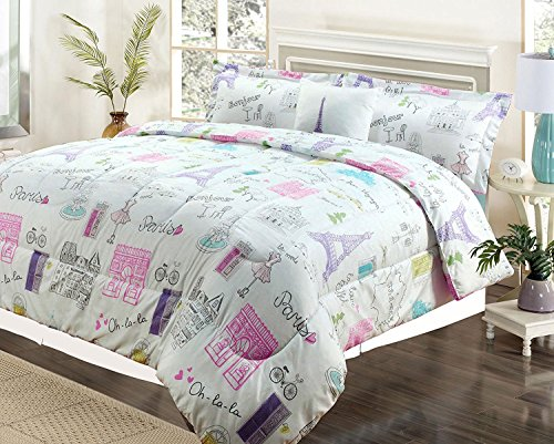 Girls Comforter Bed Set, Paris Eiffel Tower Bonjour Pink Purple ()