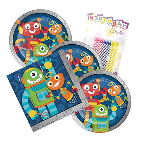 JJ Party Supplies Party Robots Theme Plates and Napkins Serves 16 With Birthday Candles … (Serves (Birthday Robot)