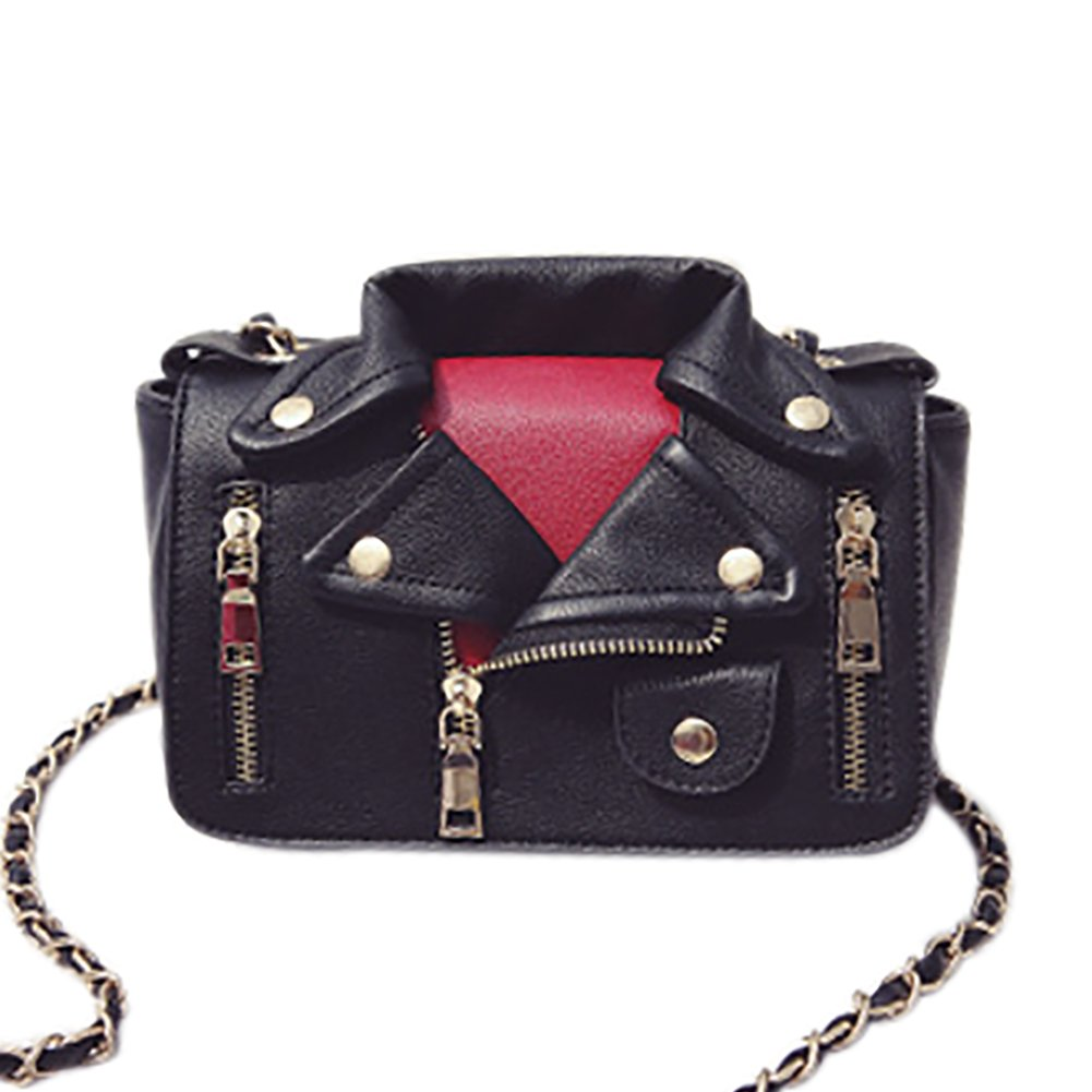 QZUnique Women's Motorcycle Jacket Shouldbag PU Leather Handbag Rivet Crossbody Satchel Bag, Black-2 by QZUnique