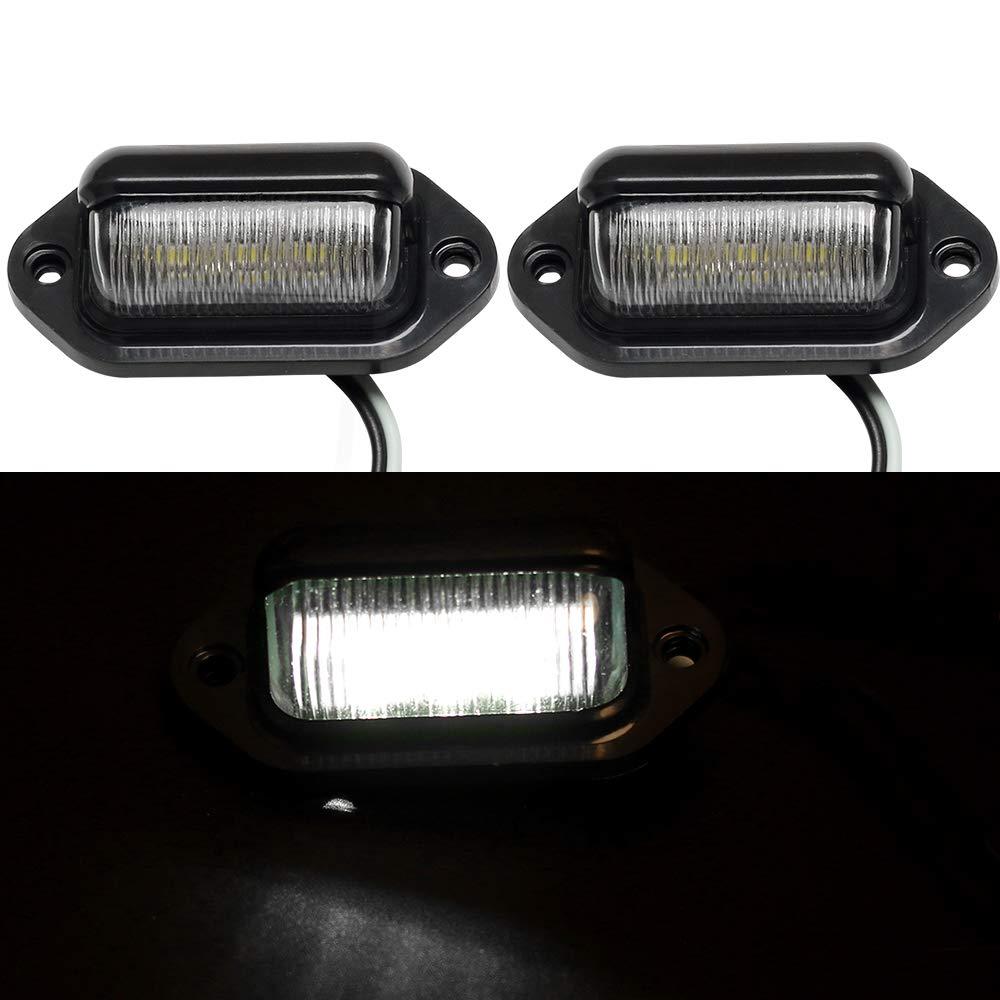 Hua Jin Da Car,Trailers,RV,Trucks Pack of 2 12V 6 SMD LEDs License Plate Light Lamps for Boat