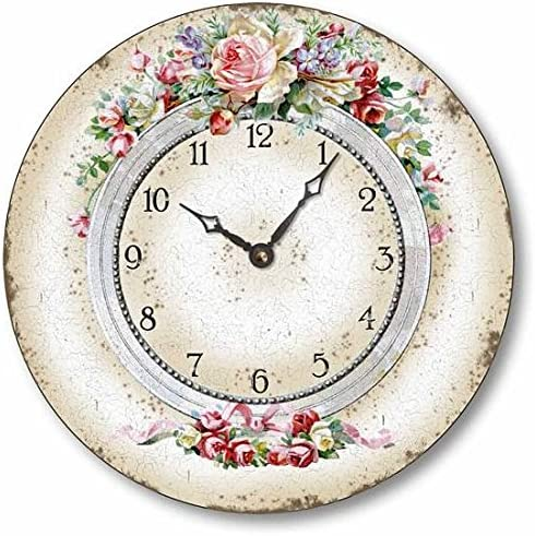 Fairy Freckles Studios Item C6026 Classical Olde World Style 10.5 Inch Floral Clock