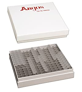 "Argos Technologies R3012A Cardboard Freezer Box for PCR Tubes with 196-Place Divider, 5 1/4"" x 5 1/4"" x 1"""