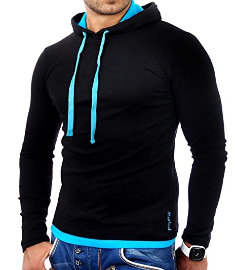 46d6d51736f53 Tazzio - Sweat Capuche Homme Sweat 1003 Noir et Turquoise - S - Noir ...