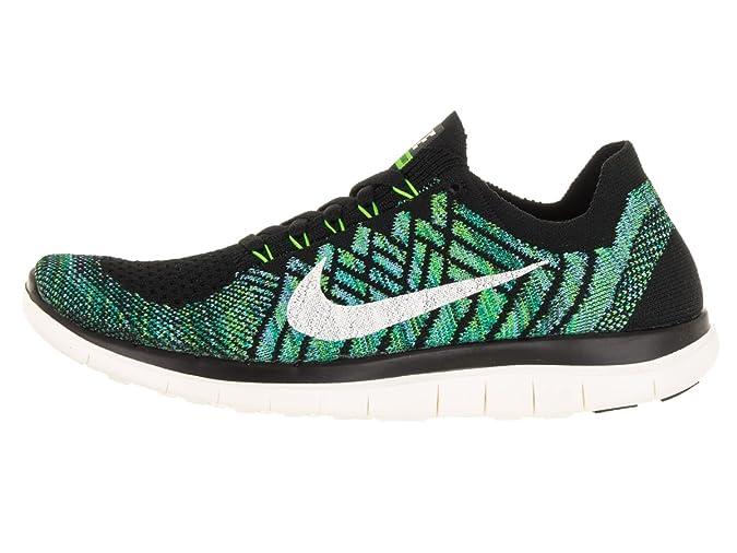 new styles b13c3 f0b2f Amazon.com   Nike Free 4.0 Flyknit Women s Running Shoes, 7, Black sail vltg  Green lcky Grn   Road Running